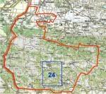 Oblast mapového listu Komen-24