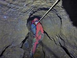 Petzoldovy jeskyně - těžební lanovka v akci (9.1.2016)