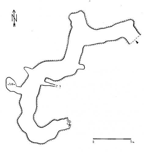 Hotová mapa 36 metrů dlouhé kavernojeskyně 22-71