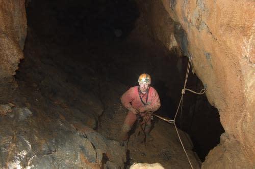 Srnčí jeskyně - u centrální propasti